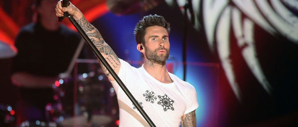 Singer Adam Levine of Maroon 5 performs onstage during A VERY GRAMMY CHRISTMAS at The Shrine Auditorium on November 18, 2014 in Los Angeles, California. (Photo by Frederick M. Brown/Getty Images)