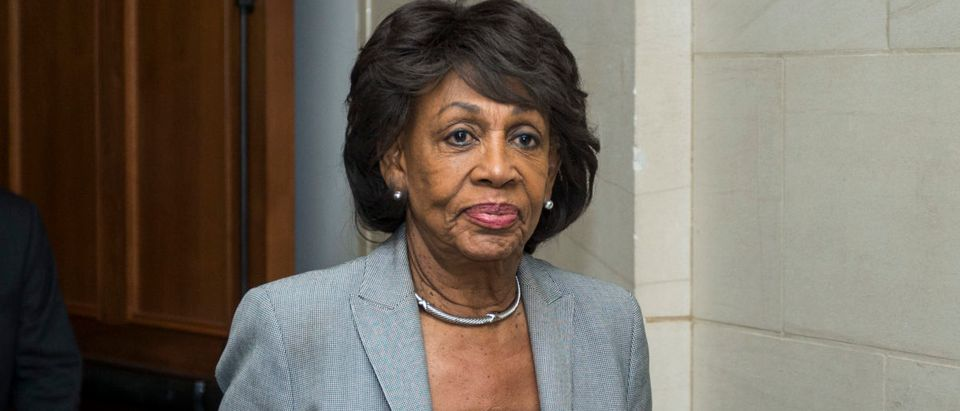 WASHINGTON, DC - NOVEMBER 28: Rep. Maxine Waters (D-CA) exits a Democratic Caucus meeting to elect new leadership on Capitol Hill on November 28, 2018 in Washington, DC. House Democrats have nominated Rep. Nancy Pelosi to run for Speaker of the House and elected Rep. Hakeem Jeffries (D-NY) to be the new House Democratic caucus chair for the 116th Congress. (Photo by Zach Gibson/Getty Images)