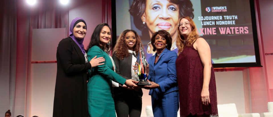 Congresswoman Maxine Waters (D-CA) poses with National Co-Chairs.Women's March Linda Sarsour, Carmen Perez, Tamika Mallory and Bob Bland following the Sojourner Truth Luncheon during the three-day Women's Convention at Cobo Center in Detroit,