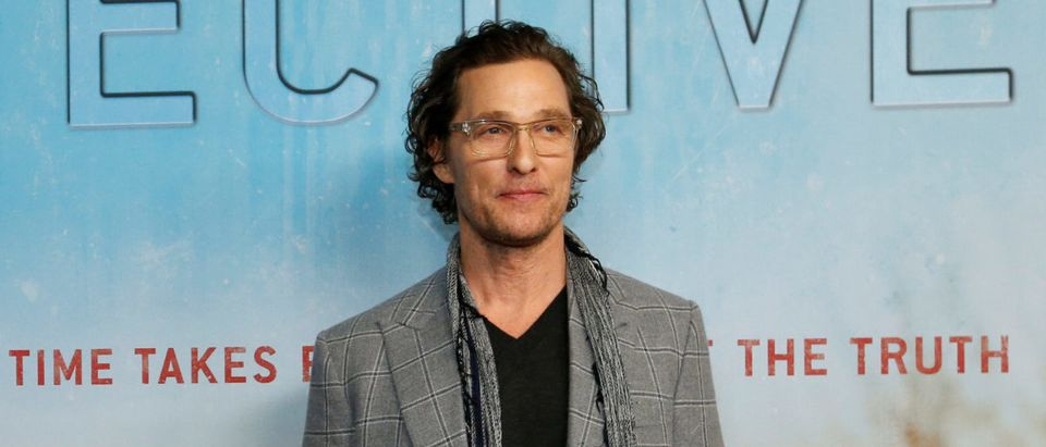 "Executive producer McConaughey poses at the premiere for season 3 of the television series ""True Detective"" in Los Angeles"