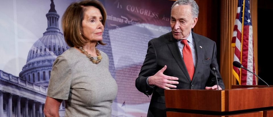 House Speaker Pelosi and Senate Minority Leader Schumer speak after deal was reached to end partial government shutdown on Capitol Hill in Washington