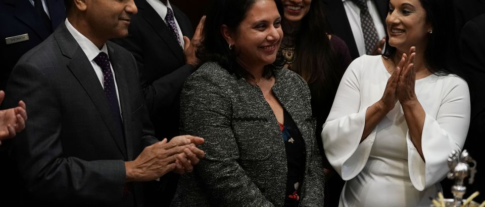 Neomi Rao (C) is introduced during a Diwali ceremony in the Roosevelt Room of the White House on November 13, 2018. (Alex Wong/Getty Images)
