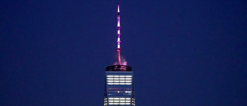 One World Trade Center lit pink on Jan. 22, 2019 to celebrate the passage of the Reproductive Health Act on the anniversary of Roe V. Wade. Governor Andrew Cuomo/Flickr