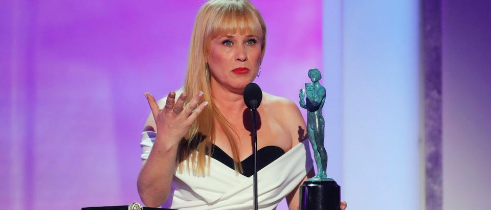 25th Screen Actors Guild Awards - Show - Los Angeles, California, U.S., January 27, 2019 - Actor Patricia Arquette reacts after winning Outstanding Performance by a Female Actor in a TV Movie or Limited Series for her work in Escape at Dannemora. REUTERS/Mike Blake