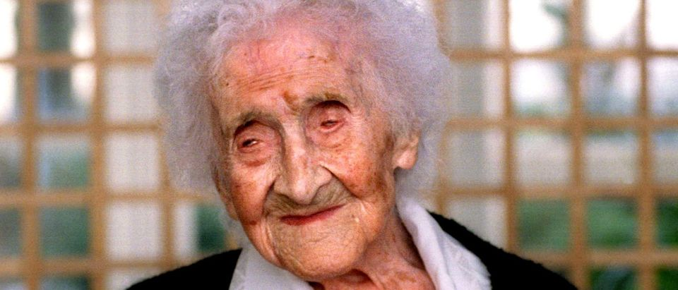 February 1996 file picture of the World's oldest woman, Jeanne Calment who died August 4 at an old p..