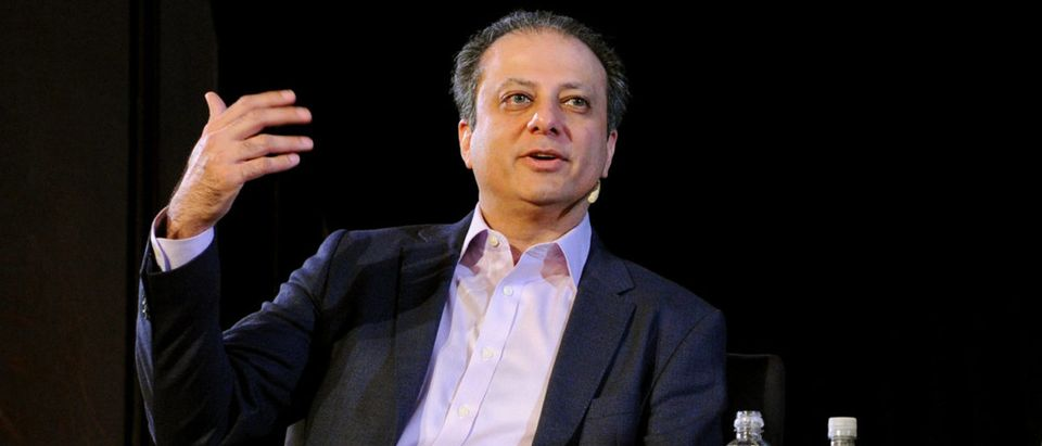 NEW YORK, NY - OCTOBER 07: Former US Attorney Preet Bharara (L) and The New Yorker's Jeffrey Toobin (R) speak onstage during Preet Bharara talks with The New Yorkers Jeffrey Toobin at New York Society for Ethical Culture on October 7, 2017 in New York City. (Photo by Craig Barritt/Getty Images for The New Yorker)