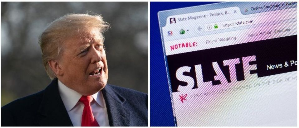 President Trump and Slate (LEFT: Chris Kleponis - Pool/Getty Images RIGHT: Sharaf Maksumov / Shutterstock.com)