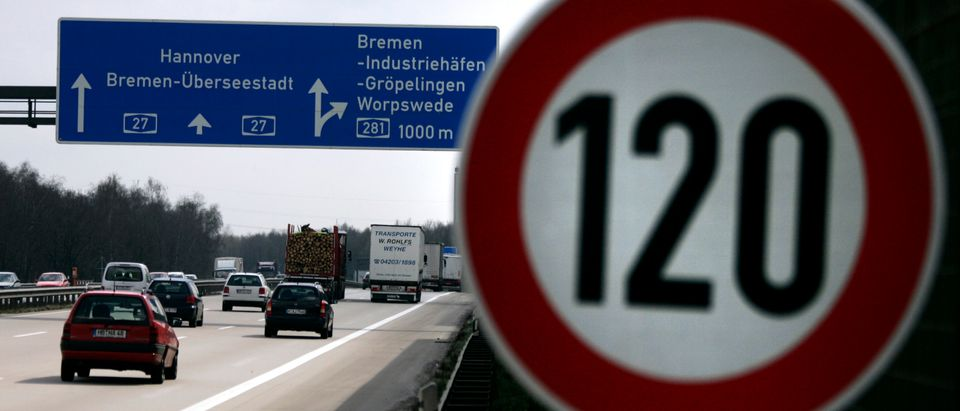 Cars pass a 120 km/h (75 mph) speed limit sign on the A27 Autobahn near the northern German city of Bremen April 10, 2008. The northern city of Bremen became Germany's first state to introduce a speed limit on its motorways on Wednesday, breaking a taboo in a country proud of its fast cars. REUTERS/Morris Mac Matzen.