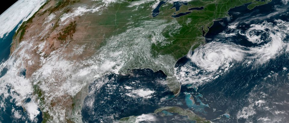 Satellite imagery of Tropical Storm Chris off the eastern coast of the North and South Carolina