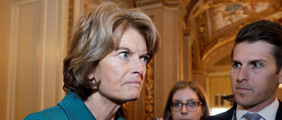 U.S. Senator Murkowski talks to reporters about her no vote on Kavanaugh nomination procedural vote on Capitol Hill in Washington