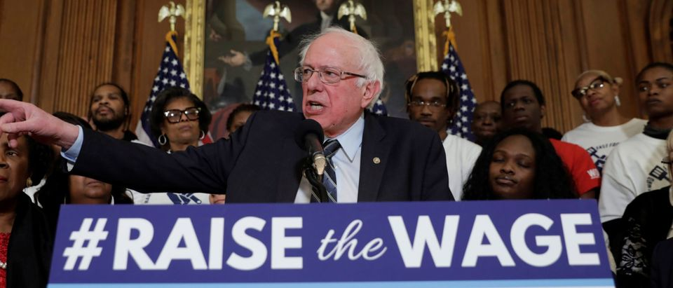 "Senator Bernie Sanders speaks during a news conference on ""Raise the Wage Act"" legislation"