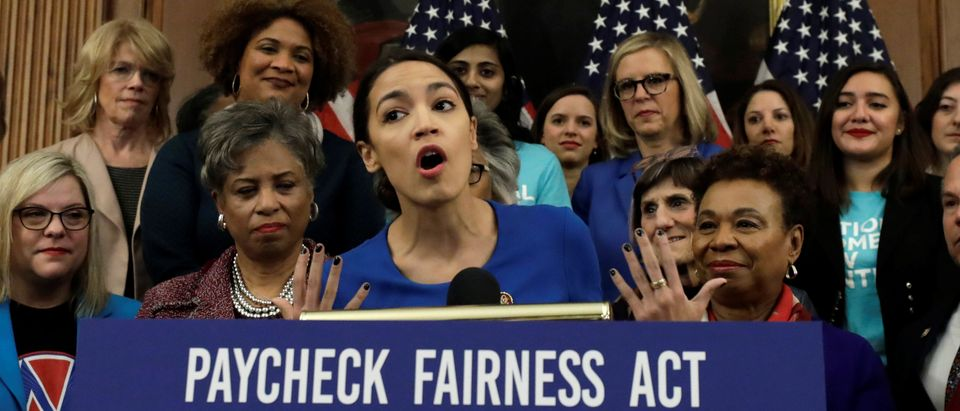 "U.S. Rep. Alexandria Ocasio-Cortez (D-NY) speaks at House Democrats news conference to reintroduce the H.R.7 ""Paycheck Fairness Act"" on Capitol Hill in Washington, U.S., January 30, 2019. REUTERS/Yuri Gripas"