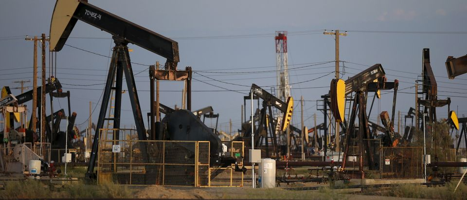 Pump jacks are seen in the Lost Hills Oil Field, California