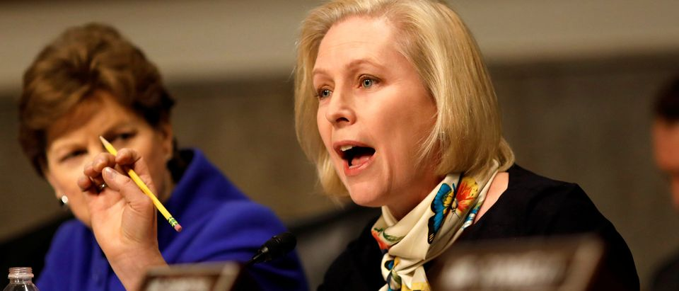 Sen. Kristen Gillibrand (D-NY) asks a question during a Senate Armed Services Committee hearing on the Marines United Facebook page on Capitol Hill