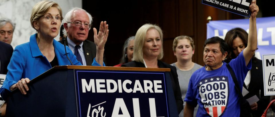 """Senator Elizabeth Warren (D-MA) speaks during an event to introduce the """"Medicare for All Act of 2017"""