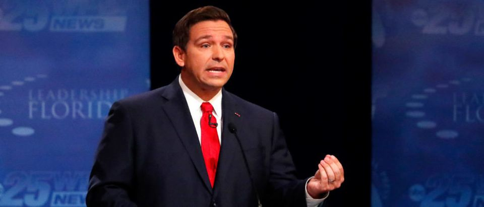 Florida Republican gubernatorial candidate Ron DeSantis gestures as he debates Democrat Andrew Gillum, at Broward College in Davie, Florida, U.S. October 24, 2018. Wilfredo Lee/ Pool via