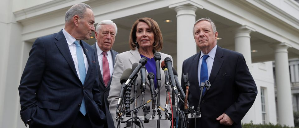 Congressional Democratic leaders speak about government shutdown after Trump meeting at the White House in Washington
