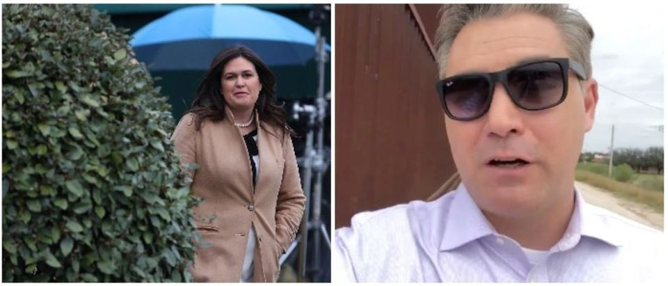 Sarah Sanders and Jim Acosta (LEFT: Mark Wilson/Getty Images RIGHT: Twitter screenshot from Jim Acosta)