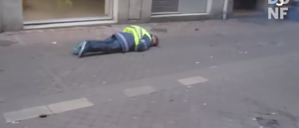Yellow jacket protester and volunteer firefighter Olivier Beziade got shot on Saturday as he ran away at an anti-climate protest in France. (YouTube/TheDCNF)