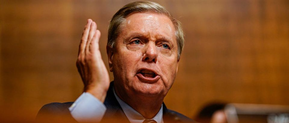 WASHINGTON, DC - SEPTEMBER 27: Sen. Lindsey O. Graham (R-S.C.) is animated in comments during a hearing with Judge Brett M. Kavanaugh with the a Senate Judiciary Committee on Thursday, September 27, 2018 on Capitol Hill. (Photo by Melina Mara-Pool/Getty Images)