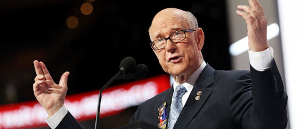 Sen. Pat Roberts (R-KS) gestures as he speaks on the first day of the Republican National Convention on July 18, 2016 at the Quicken Loans Arena in Cleveland, Ohio