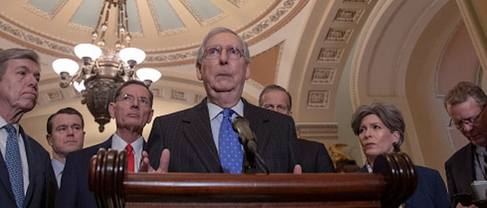 Senate Majority Leader Mitch McConnell speaks during a news conference following a Senate Republicans policy luncheon on Capitol Hill, Jan. 15, 2019 in Washington, D.C. (Photo by Tasos Katopodis/Getty Images)