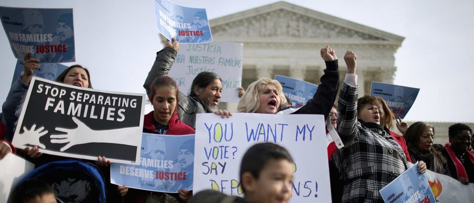About fifty pro-immigration reform demonstrators gathered for a rally outside the United States Supreme Court. (Chip Somodevilla/Getty Images)