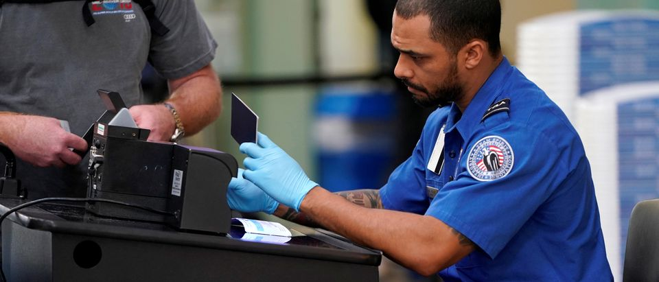 FILE PHOTO: An employee with the Transportation Security Administration (TSA) checks the documents of a traveler at Reagan National Airport in Washington