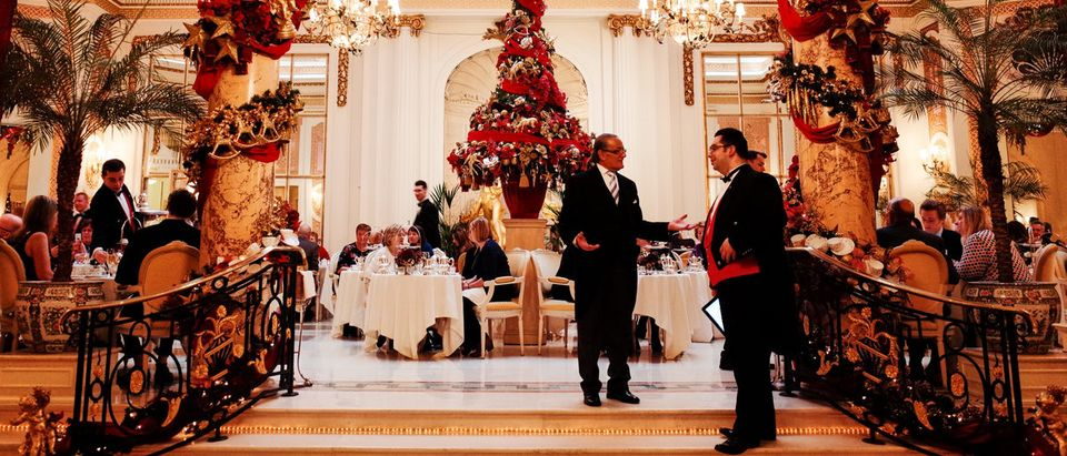 A shot inside of The Ritz-Carlton hotel in London, England, at Christmas. Shutterstock/Julie Mayfeng
