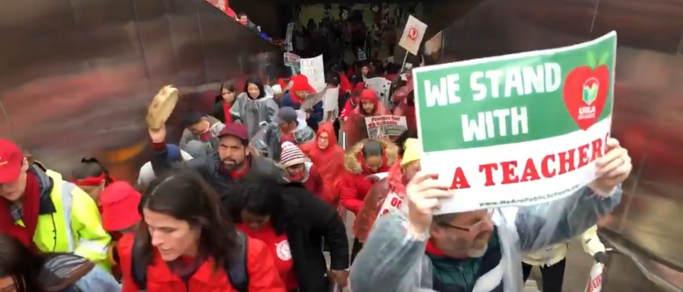 The LA strikes is turning out to be a battle among Democrats. Screenshot/Twitter/UTLA