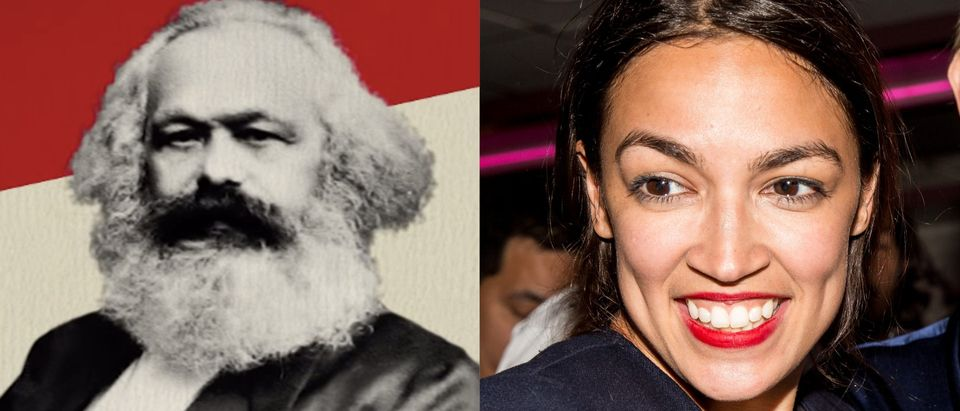 Side-by-side of Alexandria Ocasio-Cortez and Karl Marx/ YouTube Collage/ By The Economist and Getty Images