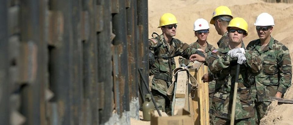 The Utah National Guard builds a wall in 2006