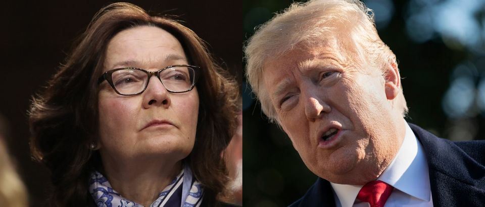 CIA Director Gina Haspel (L) and President Donald Trump (R) both addressed Iran's compliance with a 2015 nuclear agreement on Jan. 29 and 30, 2019. Win McNamee/Getty Images and Chris Kleponis - Pool/Getty Images