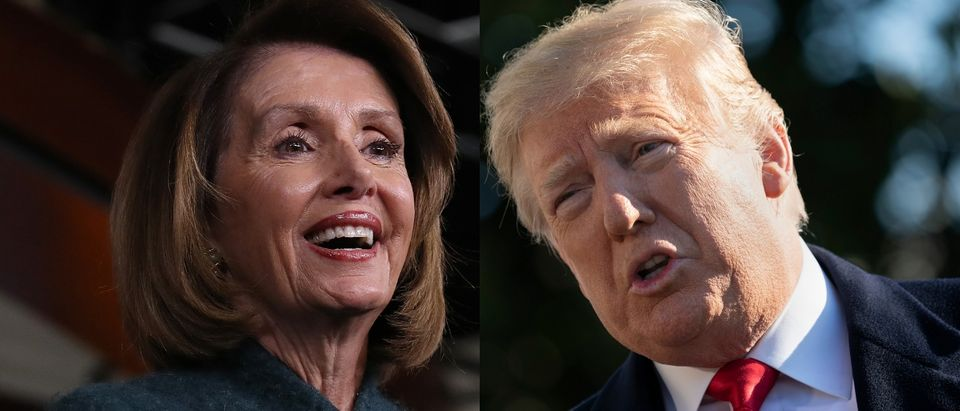 President Donald Trump questioned why House Speaker Nancy Pelosi could receive a paycheck from the government during the shutdown on Jan. 15, 2019. media credit: Win McNamee/Getty Images and Chris Kleponis - Pool/Getty Images