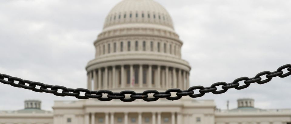 A chain fence at the U.S. Capitol during the partial government shutdown in Washington