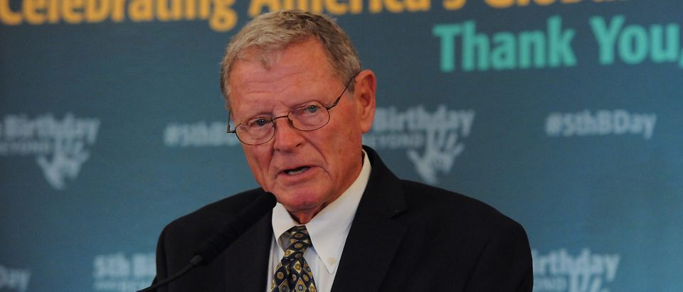 Sen. Jim Inhofe speaks at the 5th Birthday And Beyond event. (Larry French/Getty Images)