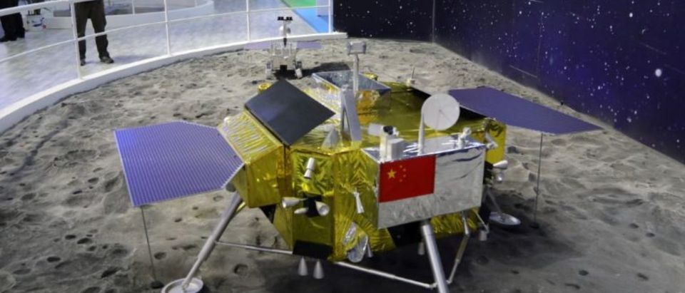 A model of the moon lander for China's Chang'e 4 lunar probe is displayed at the China International Aviation and Aerospace Exhibition, or Zhuhai Airshow, in Zhuhai, Guangdong province, China November 6, 2018. Picture taken November 6, 2018. Wang Xu/China Space News via REUTERS