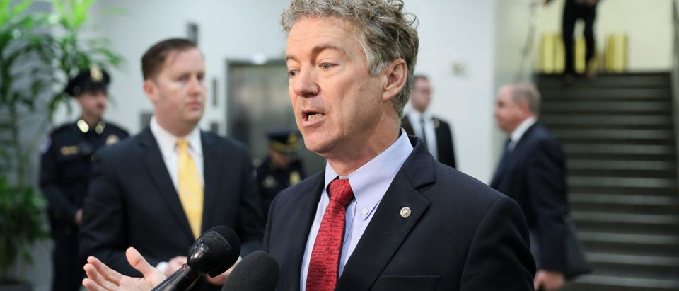 U.S. Senator Rand Paul (R-KY) speaks to reporters outside of attending a closed-door briefing, on the death of the journalist Jamal Khashoggi, by Central Intelligence Agency (CIA) Director Gina Haspel at the U.S. Capitol in Washington, U.S., December 4, 2018. REUTERS/Jonathan Ernst