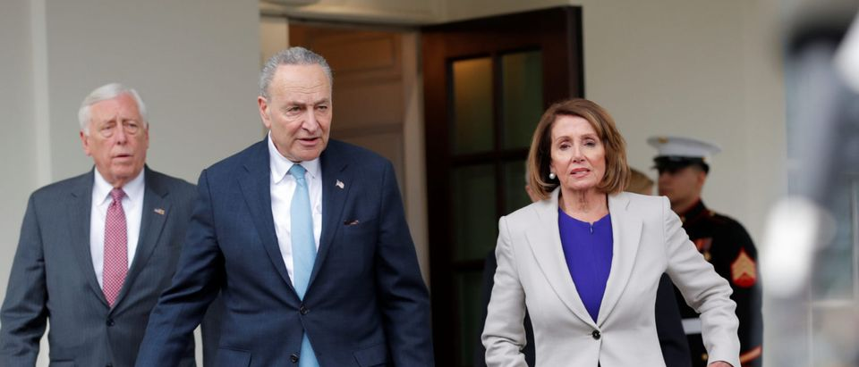 House Speaker Nancy Pelosi (D-CA), Senate Democratic Leader Chuck Schumer (D-NY) and Rep. Steny Hoyer (D-MD) walk to the microphones to speak to reporters following a meeting with U.S. President Donald Trump on the ongoing partial government shutdown at the White House in Washington, U.S., January 4, 2019. REUTERS/Carlos Barria