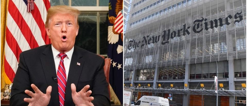 Left: President Donald Trump (Getty Images), Right: The New York Times (Getty Images)