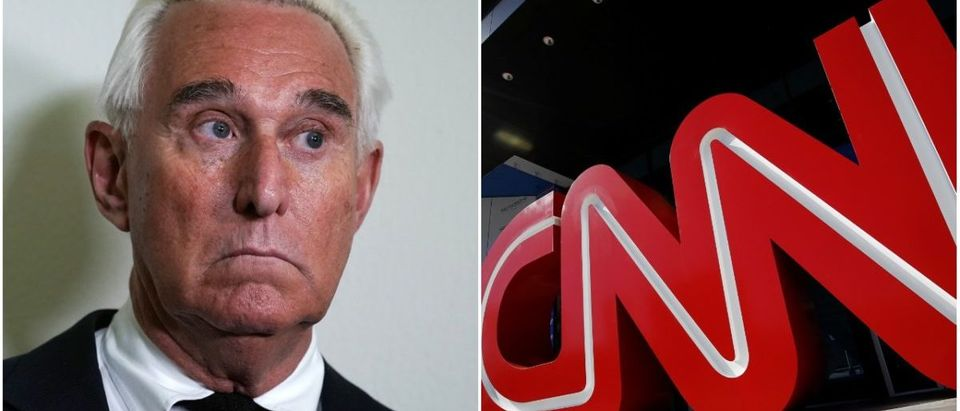Left: Roger Stone (Getty Images), Right: CNN (Reuters)