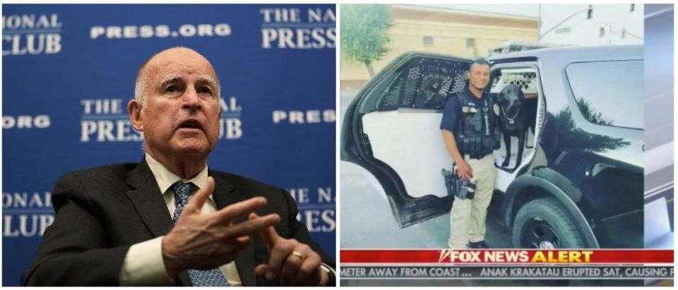 California Governor Jerry Brown and Officer Ronil Singh (LEFT: Alex Wong/Getty Images RIGHT: Fox News screenshot from 12/28)