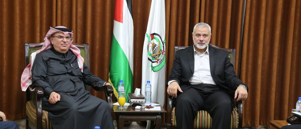 Hamas Chief Ismail Haniyeh meets with Qatari envoy Mohammed Al-Emadi in Gaza City January 24, 2019. Ahmed Shaat/Courtesy of Hamas Chief Media Office/Handout