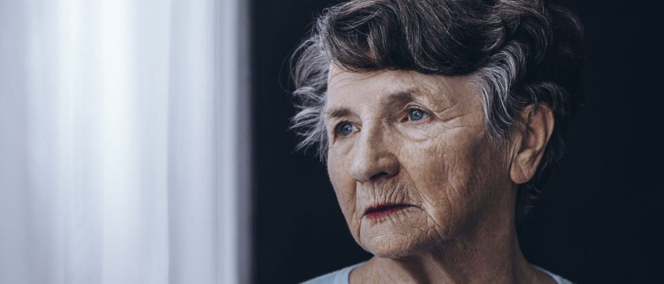 An older American looks out a window. Shutterstock image via photographee.eu