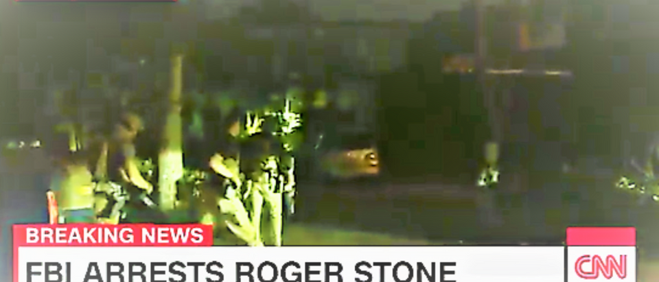 CNN obtained exclusive footage as the former Trump campaign adviser was apprehended during an FBI raid on his home in Florida. (Snapshot of FBI raid of Roger Stone's Florida home / Twitter)