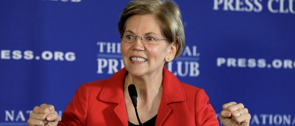 FILE PHOTO: Senator Elizabeth Warren delivers a major policy speech in Washington