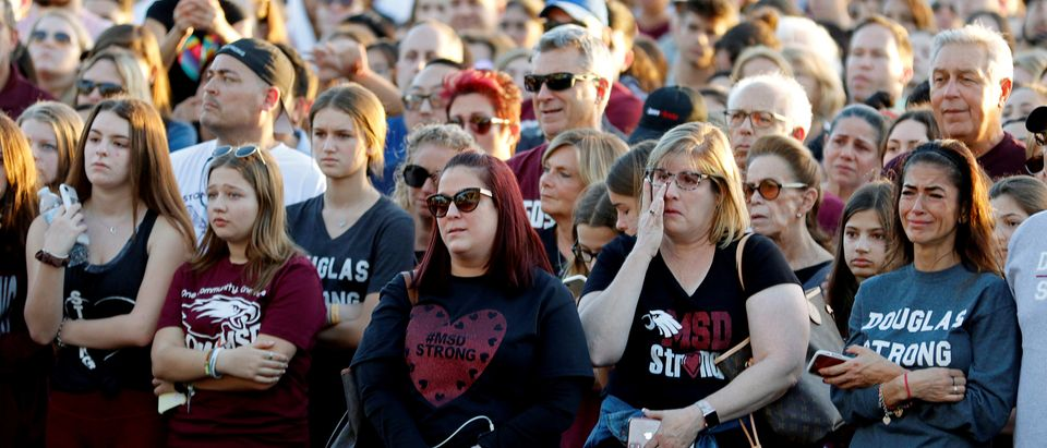 The crowd attends a memorial service on the one-year anniversary of the shooting which claimed 17 lives at Marjory Stoneman Douglas High School in Parkland