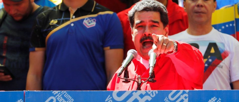 Venezuela's President Nicolas Maduro talks to supporters during a rally in support of the government in Caracas, Venezuela, Feb. 23, 2019. REUTERS/Manaure Quintero