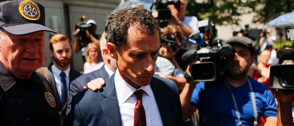 Former Democratic Congressman Anthony Weiner exits federal court in Manhattan after pleading guilty in sexting case on May 19, 2017. (Eduardo Munoz Alvarez/Getty Images)