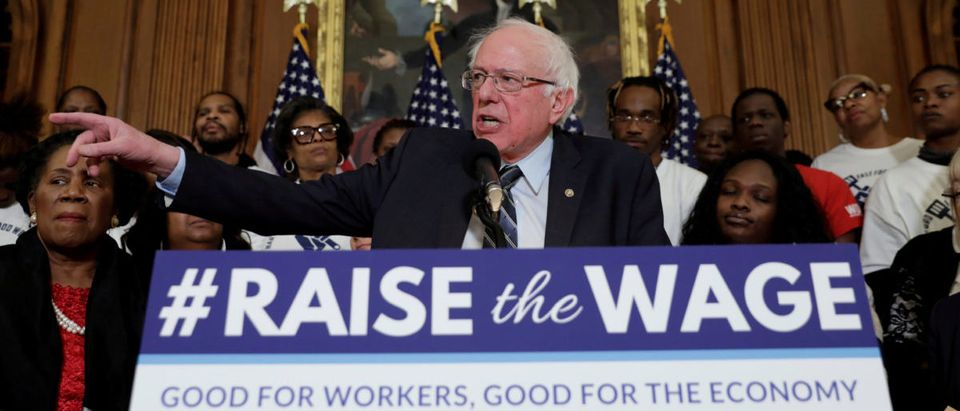 "Senator Bernie Sanders speaks during a news conference on ""Raise the Wage Act"" legislation"